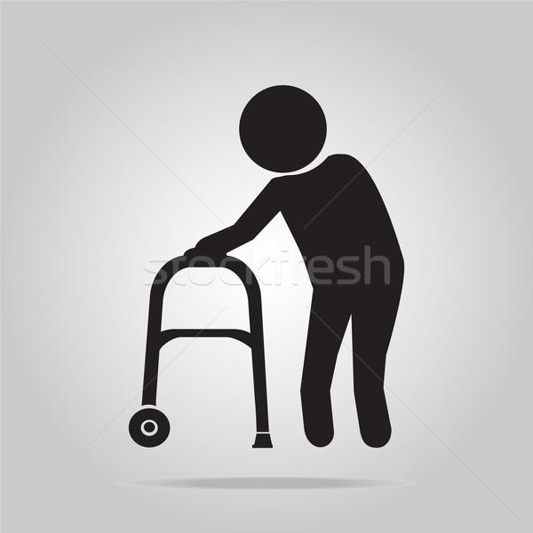 Elderly man and walker symbol illustration Stock photo © Kheat