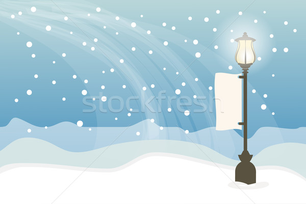 Snowy with lamppost, Christmas background Stock photo © Kheat