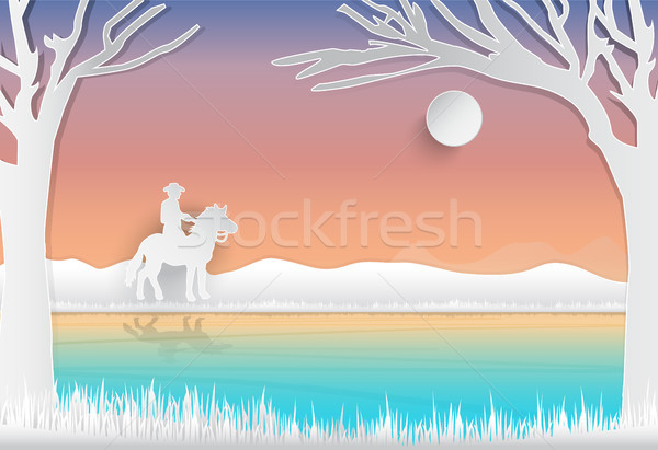 Cowboy and horse standing near canal, nature background Stock photo © Kheat