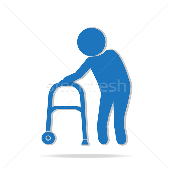 Elderly man and walker symbol illustration Stock photo © Kheat