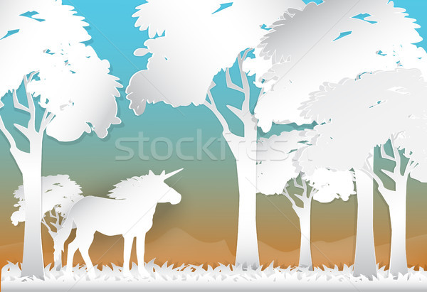 Unicorn in the forest nature background, paper art style Stock photo © Kheat