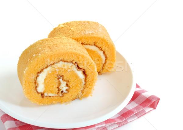Narancs zsemle torta krém csokoládé étterem Stock fotó © Kheat