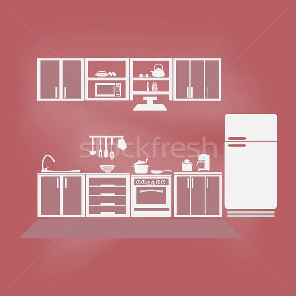Keuken interieur keuken symbool voedsel home achtergrond Stockfoto © Kheat