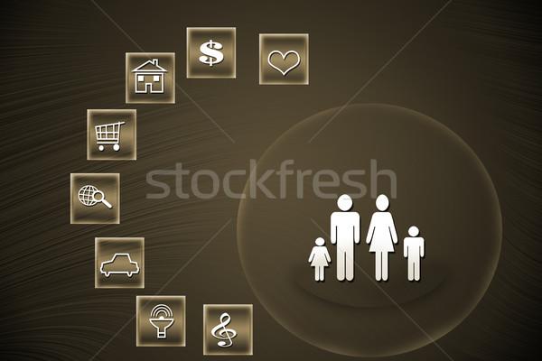 Sociale mensen bruin abstract ontwerp technologie Stockfoto © Kheat