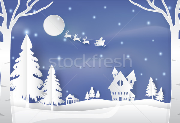 Stock photo: Winter holiday santa and deer with snow nature background