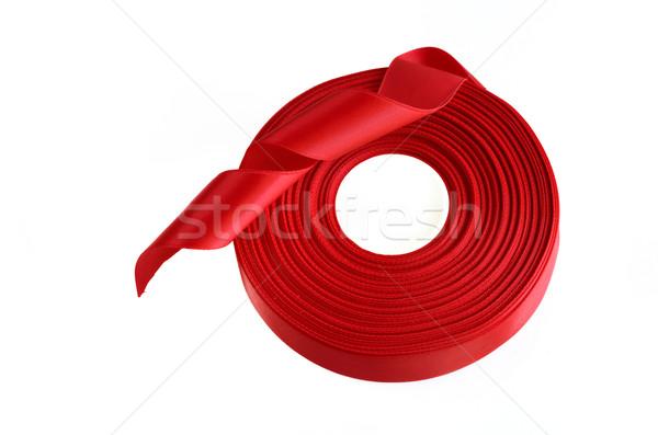 Vörös szalag zsemle fehér szalag terv születésnap Stock fotó © Kheat