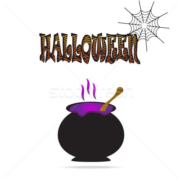 üst halloween szimbólum illusztráció háló koponya Stock fotó © Kheat