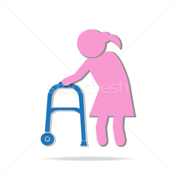 Elderly woman and walker symbol, icon  illustration Stock photo © Kheat