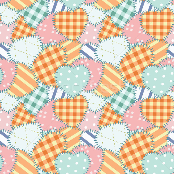 Patchwork seamless pattern with hearts  Stock photo © khvost
