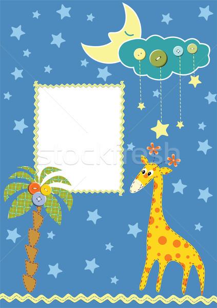 Bebek çerçeve kart doğum günü ay arka plan Stok fotoğraf © khvost