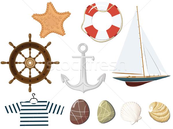 Ayarlamak deniz nesneler deniz kaya tekne Stok fotoğraf © khvost