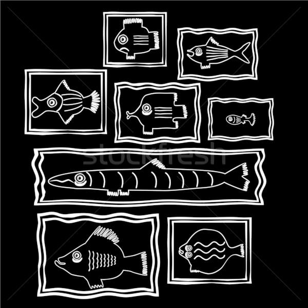 Balık moda deniz dizayn arka plan çerçeve Stok fotoğraf © khvost
