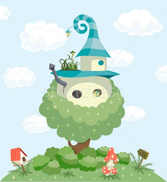 Foto stock: Conto · de · fadas · casa · bebê · casa · desenho · animado · magia