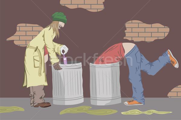 Duvar tuğla çöp kişi insan bakmak Stok fotoğraf © khvost