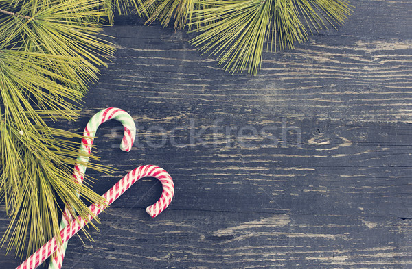 Karácsony ünnepek fenyő ágak cukorka sétapálca Stock fotó © Kidza