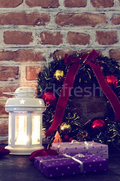 Stok fotoğraf: Noel · dekorasyon · tablo · hediyeler · fener · duvar
