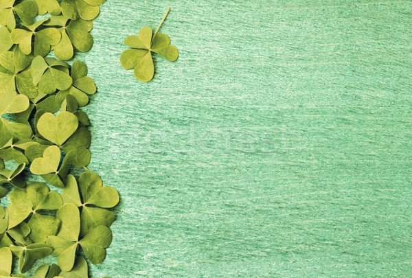 Green shamrocks clovers on wooden background  Stock photo © Kidza