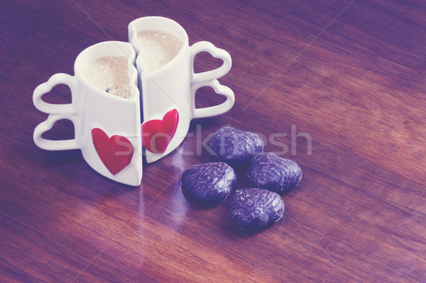 Kahve iki eski ahşap masa sevmek Stok fotoğraf © Kidza