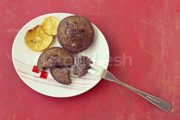 Taze kek haşhaş tohumları hizmet etki Stok fotoğraf © Kidza