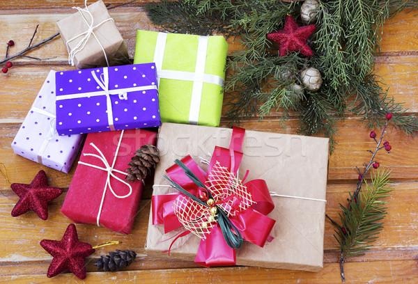 Christmas presenteert tijd geschenken decoratie vak Stockfoto © Kidza