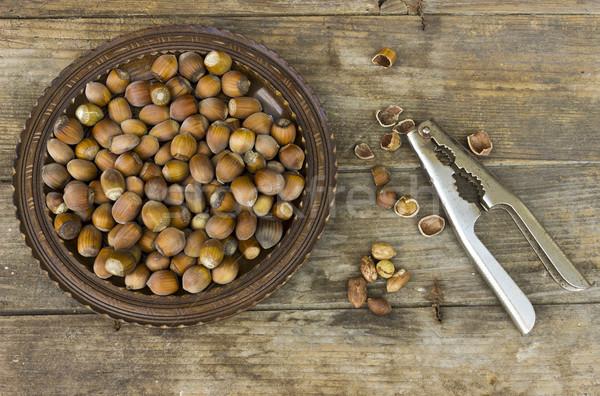 Hazelnoten houten voedsel plaat energie Stockfoto © Kidza