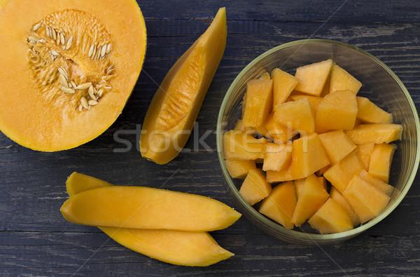 メロン ジューシー 木製のテーブル フルーツ 熱帯 ジュース ストックフォト © Kidza