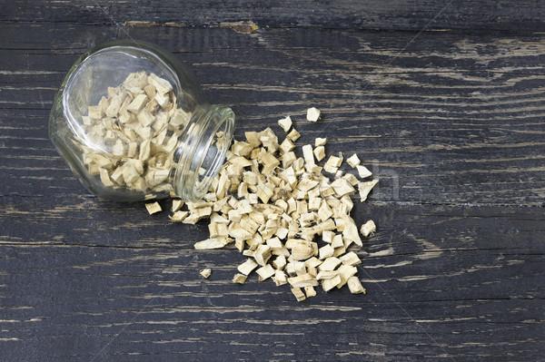 Piezas secado malvavisco raíz vidrio botella Foto stock © Kidza