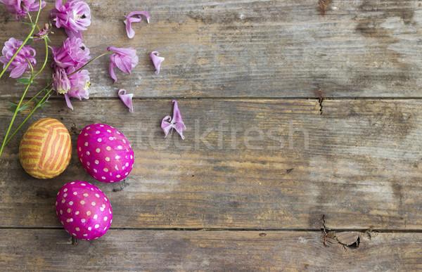 Paskalya yumurtası üst görmek easter egg dekore edilmiş kâğıt Stok fotoğraf © Kidza