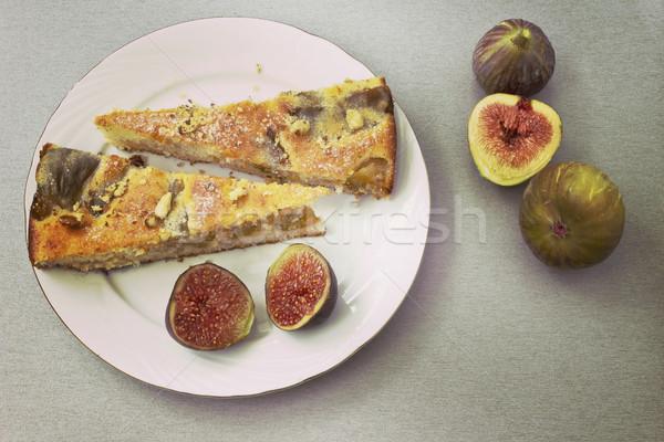 Taart vers cake zomer tabel dessert Stockfoto © Kidza