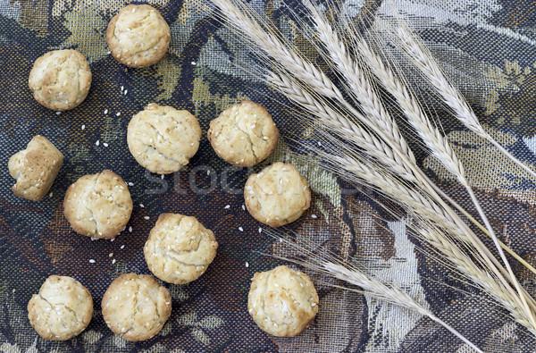 Taze kurabiye susam ev yapımı susam rustik Stok fotoğraf © Kidza
