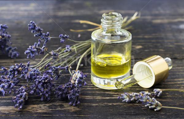 Aromaterápia olaj levendula üveg levendula olaj köteg Stock fotó © Kidza