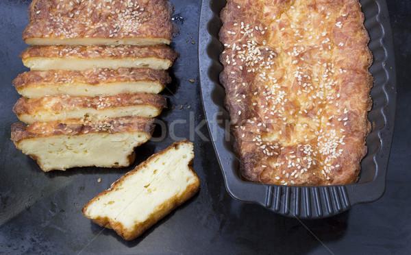 Ev yapımı peynir turta taze hazır kesmek Stok fotoğraf © Kidza