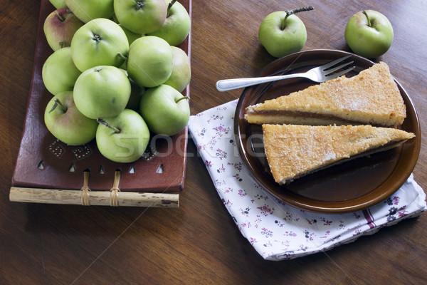 Appeltaart plakje vers gebakken geserveerd tabel Stockfoto © Kidza