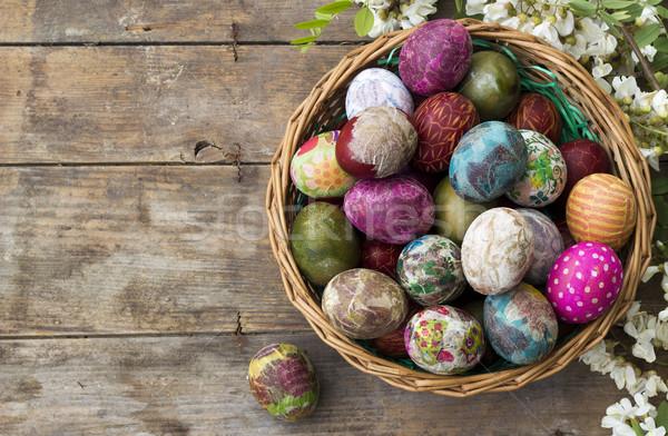 Koszyka pełny kolorowy Easter Eggs kwiat Zdjęcia stock © Kidza