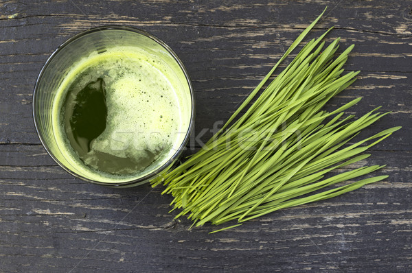 Freshly squeezed juice of wheat grass Stock photo © Kidza