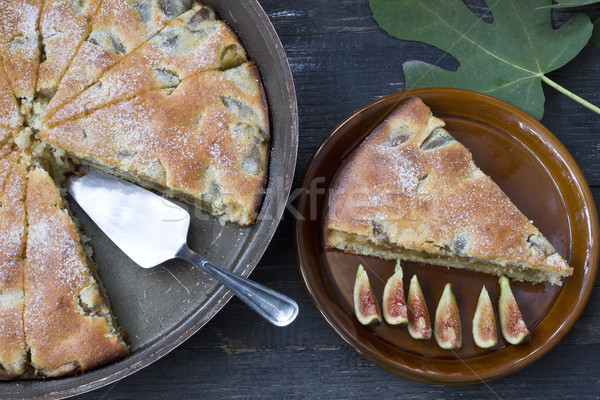 Fig pie on a wooden background Stock photo © Kidza