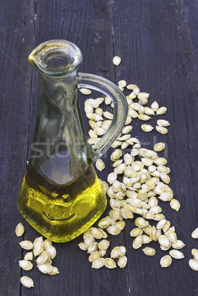 Kabak Çekirdeği yağ şişe tohumları ahşap doğa Stok fotoğraf © Kidza