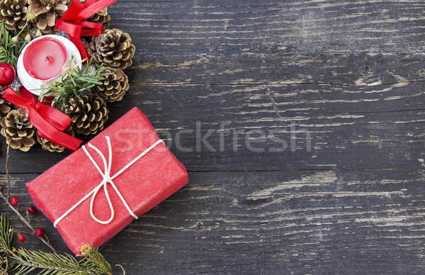 Christmas geschenkdoos geschenk vak kaars Stockfoto © Kidza