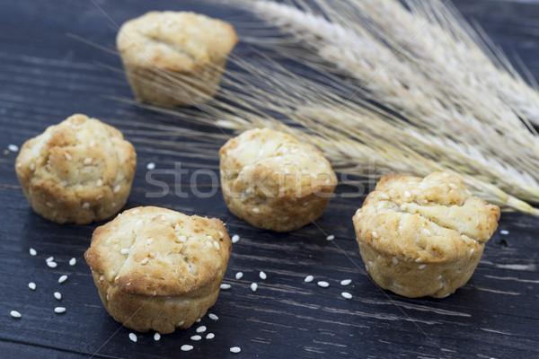 Kicsi sütik szezám házi készítésű süti szezámmag Stock fotó © Kidza