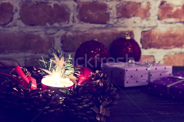Christmas avond decoratie geschenken muur winter Stockfoto © Kidza