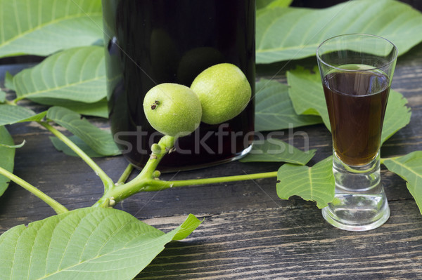 Liqueur with green walnuts Stock photo © Kidza
