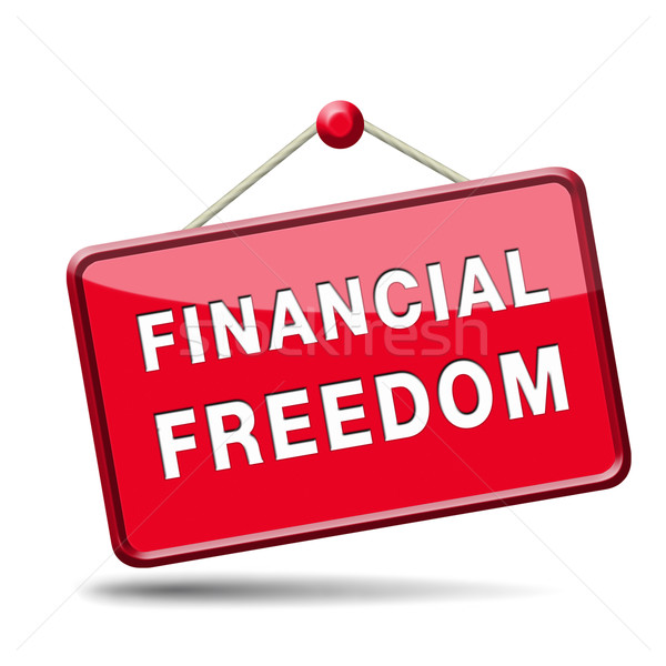 Finanziellen Freiheit Zeichen wirtschaftlichen Business Geld Stock foto © kikkerdirk
