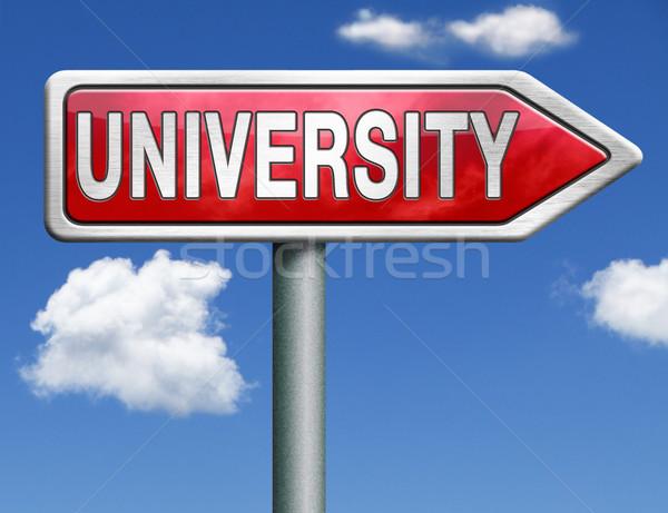Uczelni znak drogowy arrow nauczyć wiedzy Zdjęcia stock © kikkerdirk