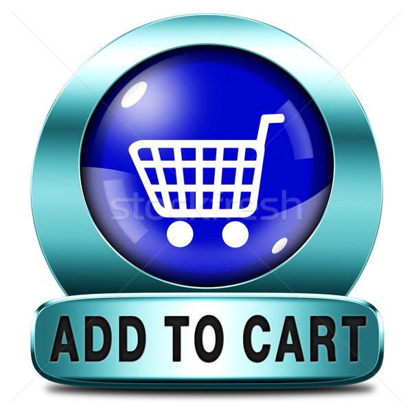 Kosár bevásárlókocsi most ikon online webshop Stock fotó © kikkerdirk