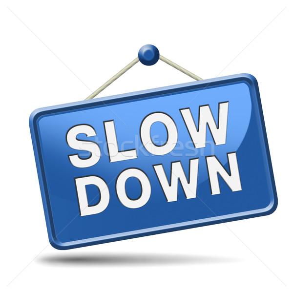 slowdown blue placard Stock photo © kikkerdirk