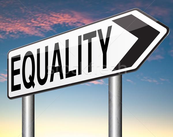 Egyenlőség szolidaritás egyenlő jogok lehetőségek nem Stock fotó © kikkerdirk
