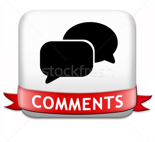 Knop teken icon terugkoppeling blog Stockfoto © kikkerdirk