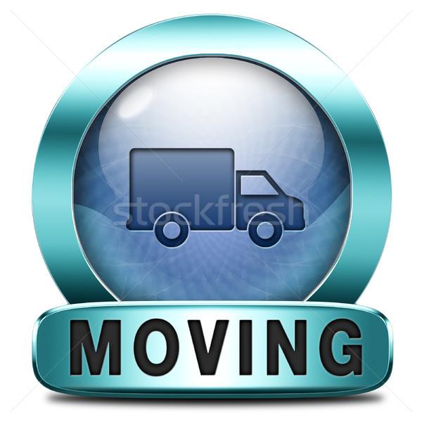 Movimiento icono van camión otro casa Foto stock © kikkerdirk