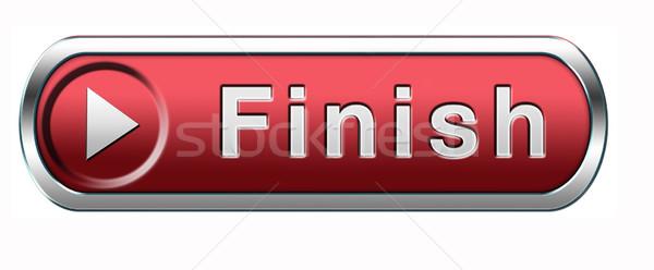 Befejezés gomb befejezés verseny kijárat ki Stock fotó © kikkerdirk