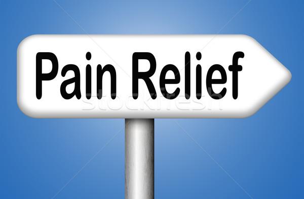 Pijn opluchting moordenaar helpen tekst gezondheidszorg Stockfoto © kikkerdirk